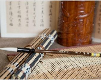 Free Shipping 4.7x1x23cm Pure Goat Hair Brush / JMRS - Ebony Wood Handle - Oriental Calligraphy Painting - 0019