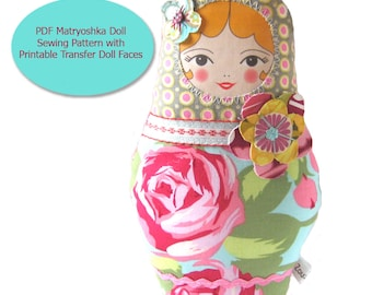 Babushka Doll PDF Sewing Pattern -  with Printable Transfer Doll Faces, Cloth doll template