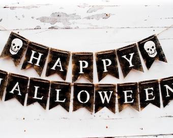 Happy Halloween Banner Burlap Rustic B167