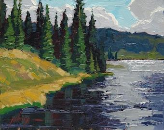 """White Owl Lake 8x10"""" Plein Air Oil Painting"""
