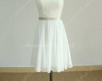 Elegant keyhole back knee length chiffon lace wedding dress with champagne sash