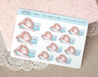 Kawaii Girl Decorative Stickers: Working extra hours, tired, bored ~Vera~ For your Life Planner, Diary, Journal, Scrapbook...