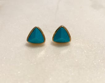Turquoise and Gold Triangle Stud Earrings-Gold Studs, Turquoise Earrings, Turquoise Studs, Triangle Studs