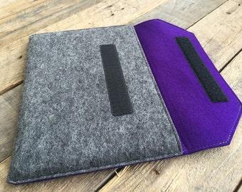 100% Wool Felt MacBook Case - MacBook Sleeve - Mottled Dark Grey and Dark Purple Colours - Christmas Gift