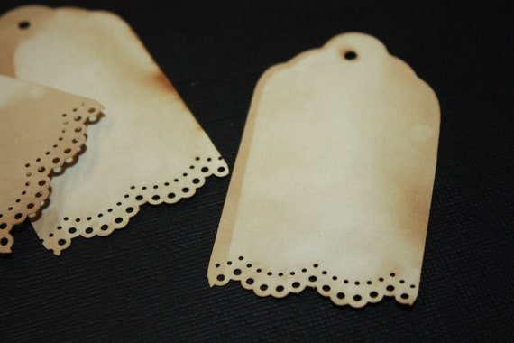 Tea Stained Lace Edge Tag set of 50 Tags