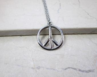 World peace necklace etsy peace necklace silver peace sign necklace peace and love necklace world peace necklace peace on earth aloadofball Choice Image