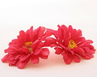 2 Bright Pink Wild Zinnia - Artificial Flowers