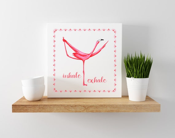 affiche de flamant rose qui fait la posture de danseur en. Black Bedroom Furniture Sets. Home Design Ideas