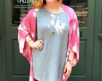 Hand-dyed Madder + Cochineal Boho Cardigan | Boho Wrap | Bathing Suit Cover Up | Boho Fashion | Boho Kimono