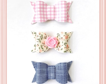 Floral and Chambray Chunky Hair Bow Trio
