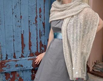 Shell beaded lace knit shawl - natural linen scarf - sea shells - beach wedding - bohemian wedding accessories - summer scarf - wrap scarf
