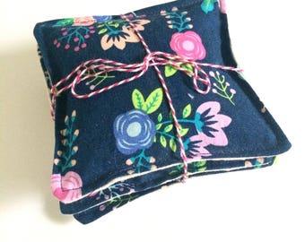 Lavender sachets, set of three, blue floral print with linen backing, satchet, gift under 15, lavendar sachet