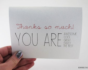 Thank You Card / Blank Inside Thank You / Bulk Thank You / Gratitude Card / Unique Thank You