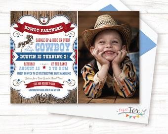 Cowboy Birthday Invitation, Cowboy Birthday Party, Cowboy Party, Cowboy Birthday Invite, Wild West Party, First Birthday Boy, PRINTABLE