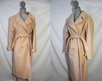 Vintage 60s Tan Collared Trench Coat Button Up Winter Jacket Mid Century Swing Coat Evening Outerwear Full Length Formal Mad Men Coat