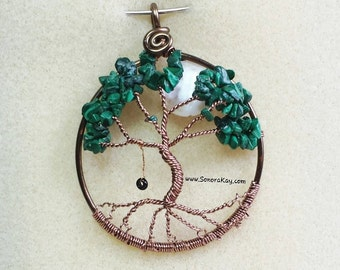 Bronze and Green Pendant | Tree of Life Pendant | Malachite | Bronze Pendant | Mythology pendant |  Spiritual jewelry | Spiritual pendant