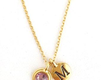 June Birthstone Necklace - Graduation Gift - Personalized Necklace - Initial Necklace - Birthstone Jewelry - June Birthday - Custom Necklace