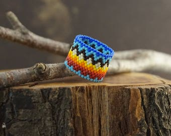 Rainbow Beaded ring Beaded boho ring Rainbow ring Birthday Gift For Wife Band ring Wide boho ring Boho jewelry lgbt ring Colorful ring
