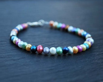 colored Bracelet, cultured pearls, Sterling Silver 925