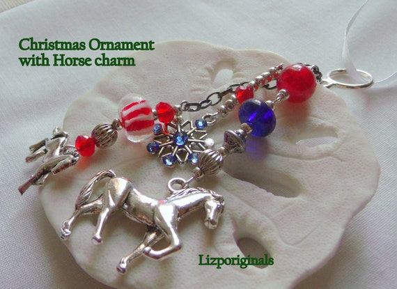 Horse charm christmas ornament - red patriotic horse charm - wall decor - equestrian gift - Horse lover gift - tree ornament -    Rider
