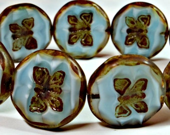 Light Blue Silk Butterfly Czech Glass Bead, 26mm Travertine Picasso Table Cut Czech Glass Coin Bead (1 Pc)