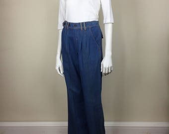 pleated bell bottom flared trouser jeans w/ gold stitching 70s