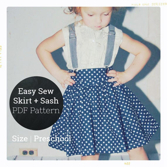 Girls Skirt Pattern PDF Twirl Skirt Pattern Size 4T 4 5 6 Beginner ...