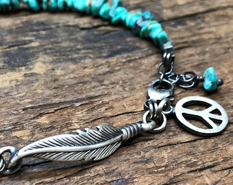 Turquoise, Feather and Peace Sign Bracelet