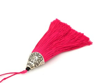 Pompom fuchsia with Silver Cup 8 cm