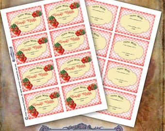 Tomato Relish Labels, Blank Labels, Digital Label Sheets