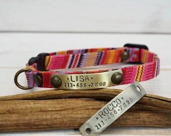Cat Collar,  Dog Collar, Vegan Collar, Small Dog Collar, Breakaway Collar, Kitty Collar, Personalized Cat Collar, Personalized dog