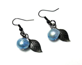 Blue Freshwater Pearl Black Leaf Earrings Dangle Drop Earrings Black Leaves Nature Jewelry Beaded Earrings Gifts for Her Christmas Gifts