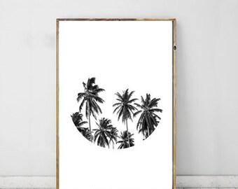 Palm Tree Black White Photography, Palm Tree Decor, Palm Photography, Wall Art, Monochrome Photography