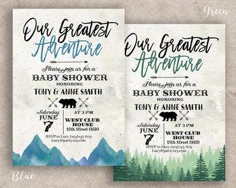 greatest adventure baby shower invitation, greatest adventure party invitation, You Are Our Greatest Adventure invitation, mountain invite
