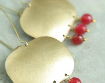 Pink Chandelier Earrings, Beaded Brass Earrings, Pink Quartz, Vivid, Bright, Rectangle