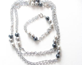 Sarah Coventry Pearl Necklace and Bracelet Mood Magic Jewelry Set Vintage Gift for Her