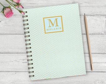 Chevron personalized hardback spiral journal, personalized note book, custom monogram notebook, girls custom journal, blank journal NBW03