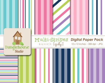 Striped Digital Papers   Instant Download   Hot Pink, Lime, Turquoise, Purple and Navy Stripes   Digital Scrapbooking   Multi Stripe Papers