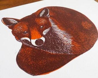 Fox, 2 Colours, Original Linocut Print, Signed Open Edition, Free Postage in UK, Block print, Christmas Gift Ideas,  Printmaking,