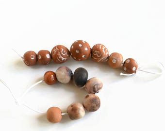 Terracotta beads, earthenware beads, textured beads, ceramic beads, handmade clay beads, beads from South Africa, art beads, handmade