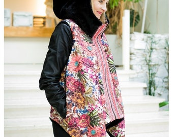 TaTytea design double sided black eco fur and lace vest with big hood