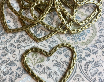 10 Hammered Metal Hearts