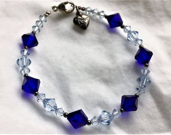 Swarovski beaded bracelet with baby blue and royal blue crystals. Extreme sparkling crystals! FREE shipping in the USA!