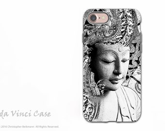 Buddha iPhone 7 / iPhone 8 Tough Case - Zen Dual Layer Protective Apple iPhone 7 / 8 Cover - Black and White Buddhist Art - Bliss of Being