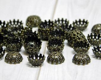 50 or 100pc - Bronze Bead Caps - Filigree Bead Caps - 8mm Bead Caps - Filigree Caps - Antique Bronze - Fits 8-10mm Beads - (B577)