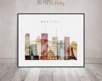 Montreal art print, Montreal watercolour poster, Wall art, Montreal skyline art, Travel poster, Art print, Gift, Home decor, ArtPrintsVicky