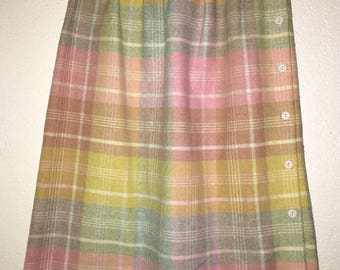 Vintage 80s Kayo of California pink plaid high waist wool skirt- small/ xs- ships free!