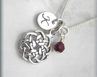 Round Celtic Knot Necklace, Initial Charm, Birthstone Jewelry, Irish Jewelry, Sterling Silver, Personalize, Irish Charm Necklace, Bridesmaid