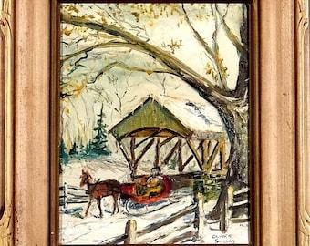 Rare ca.1965 PA Snowy Sleigh & Horse w/Covered Bridge Painting Oil/Canvas/Frame