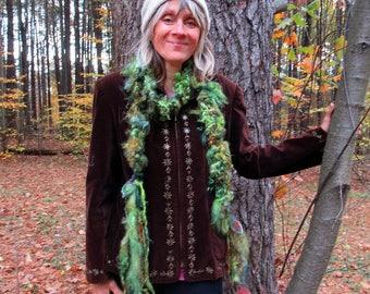 handknit scarf art yarn boa gypsy boho wool curls felted scarf - wild forest leaf faerie scarf